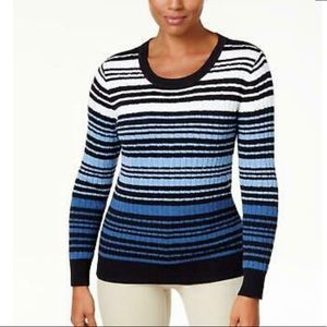 Karen Scott Womens NEW Blue Cable-Knit Sweater